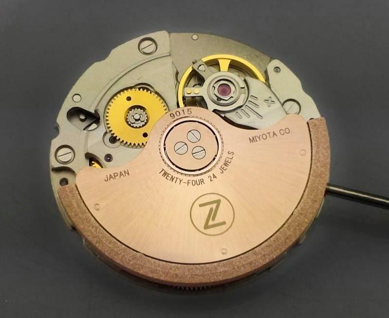 miyota 9015 self-winding movement with custom rotor