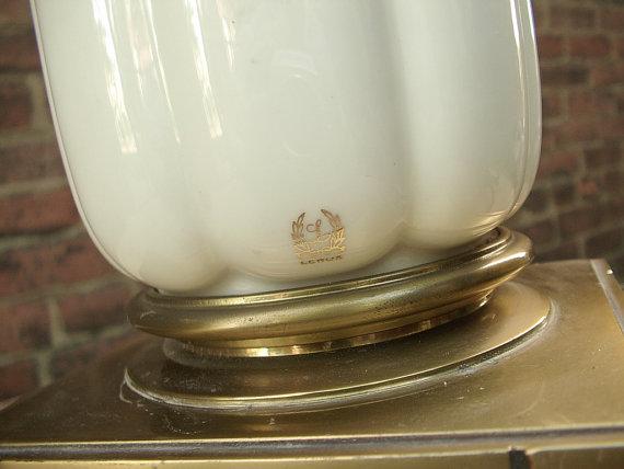 Shoponsherman Vintage Stiffel Lenox Porcelain Torchiere Lamp
