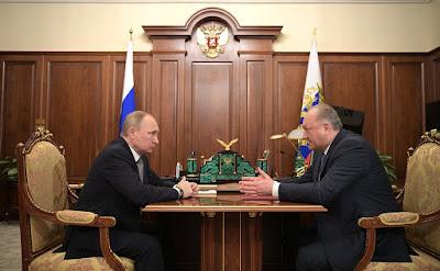 Russian President Vladimir Putin and Kamchatka Teritory Governor Vladimir Ilyukhin.