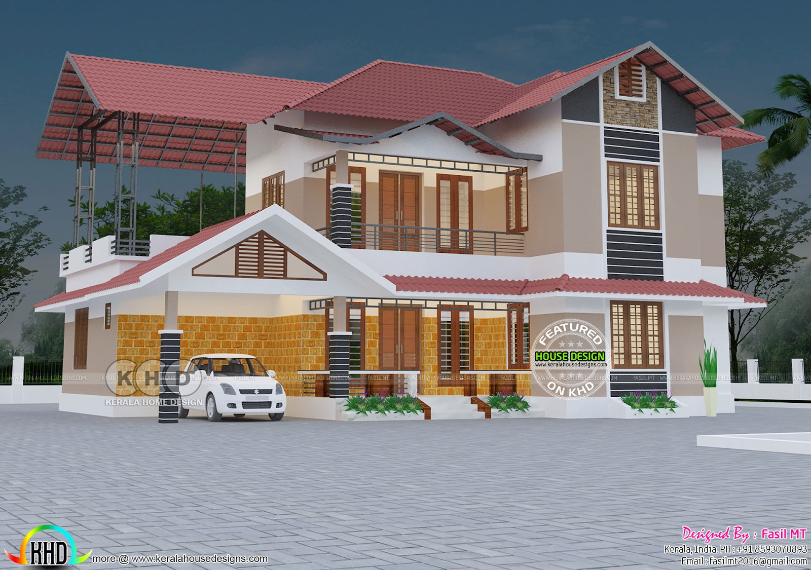 2090 sq-ft 3 bedroom modern sloping roof house | Kerala home