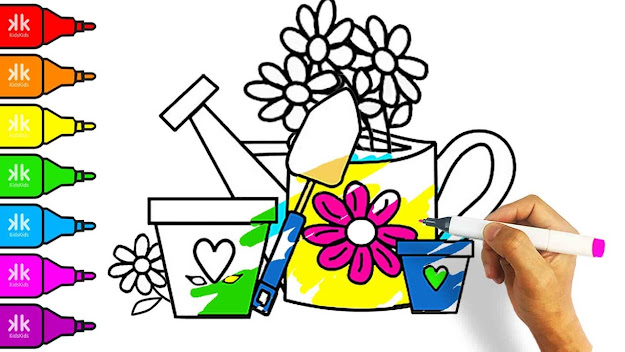 How To Draw Color And Paint Flower Pot  Coloring Pages For Kids To Learn