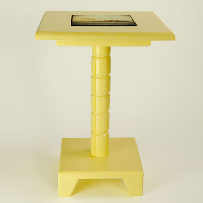 Yellow Painted Handcrafted Drink Table with Removable Tile Inlay