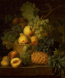 Basket of Fruit (Oil on canvas, 1801-1802 - Fruits Painting) by Dael Jean Francois van, Flemish painter of fruit and flowers
