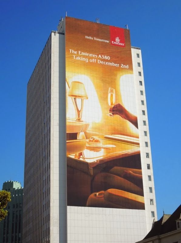 Emirates A380 taking off Dec 2 giant billboard