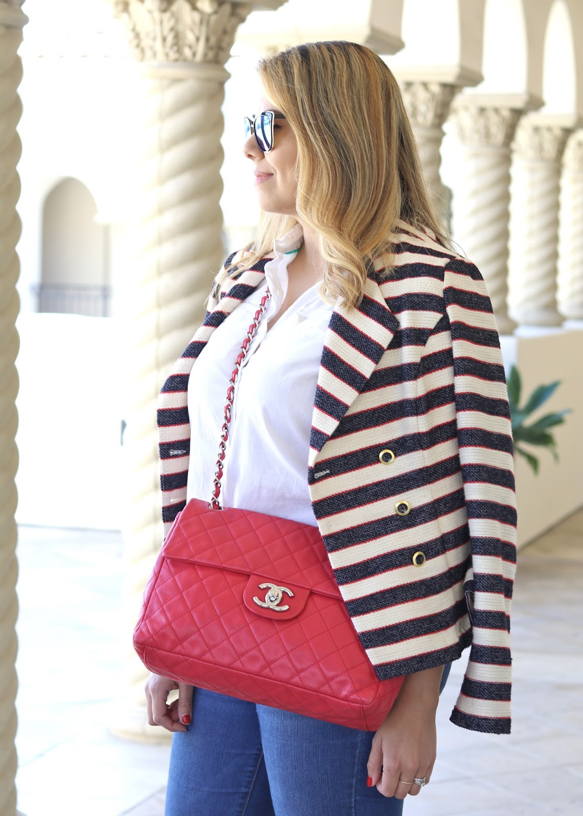 CHANEL RED SOFT CAVIAR LEATHER MAXI BAG, what to wear with a red bag, red bag outfit ideas