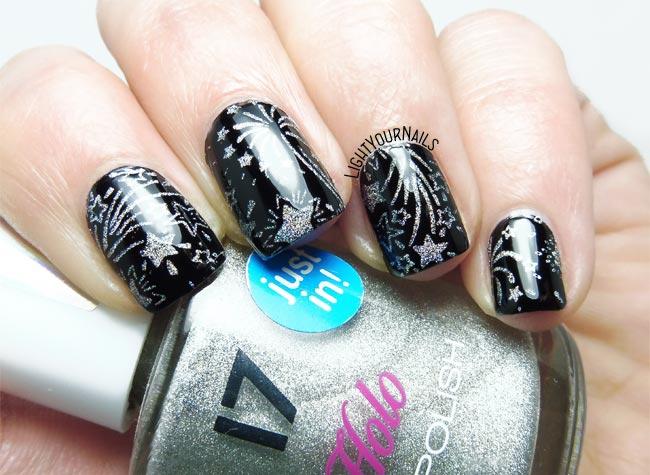 Fireworks stamping nail art fuochi d'artificio