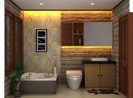 Elements of wood and living plants will add warmth in the bathroom.