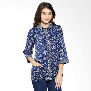Model Baju Batik Kerja Kombinasi Modern Terbaru