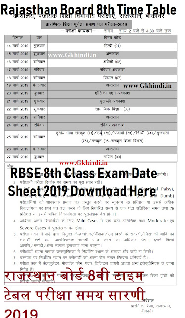 rbse 8th time tabe 2019, bser 8th class exam time table 2019, download 8th class exam date sheet, rajasthan board 8th time table, raj board VIIIth exam schedule , Ajmer Board 8th Class Exam Program 2019,