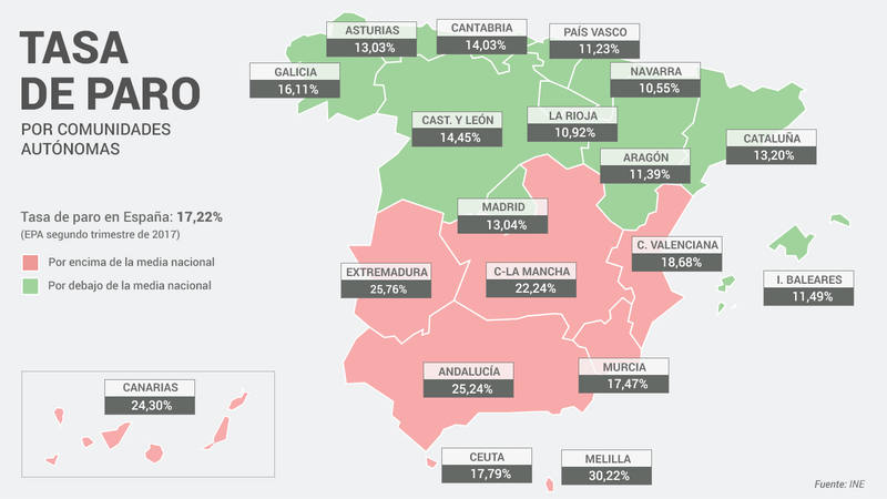 Conectandoeduca Mapas De Tasas De Paro Cc Aa 2º Trimestre 2017