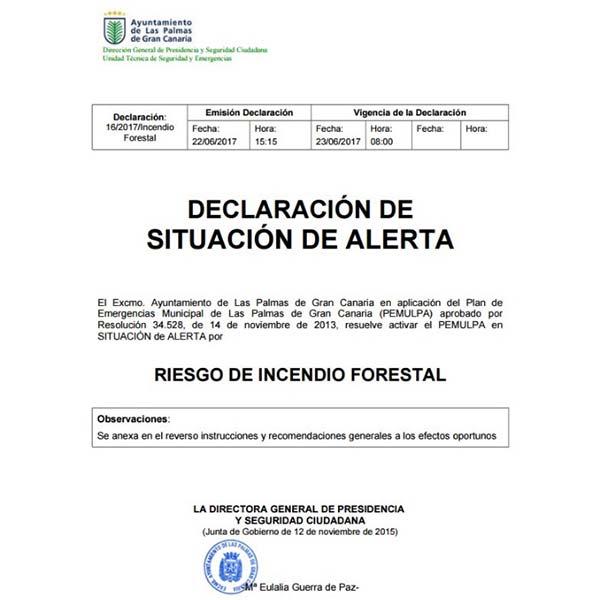 Alerta temperaturas máximas e incendio forestal,Las Palmas de Gran Canaria 22 y 23 junio 2017