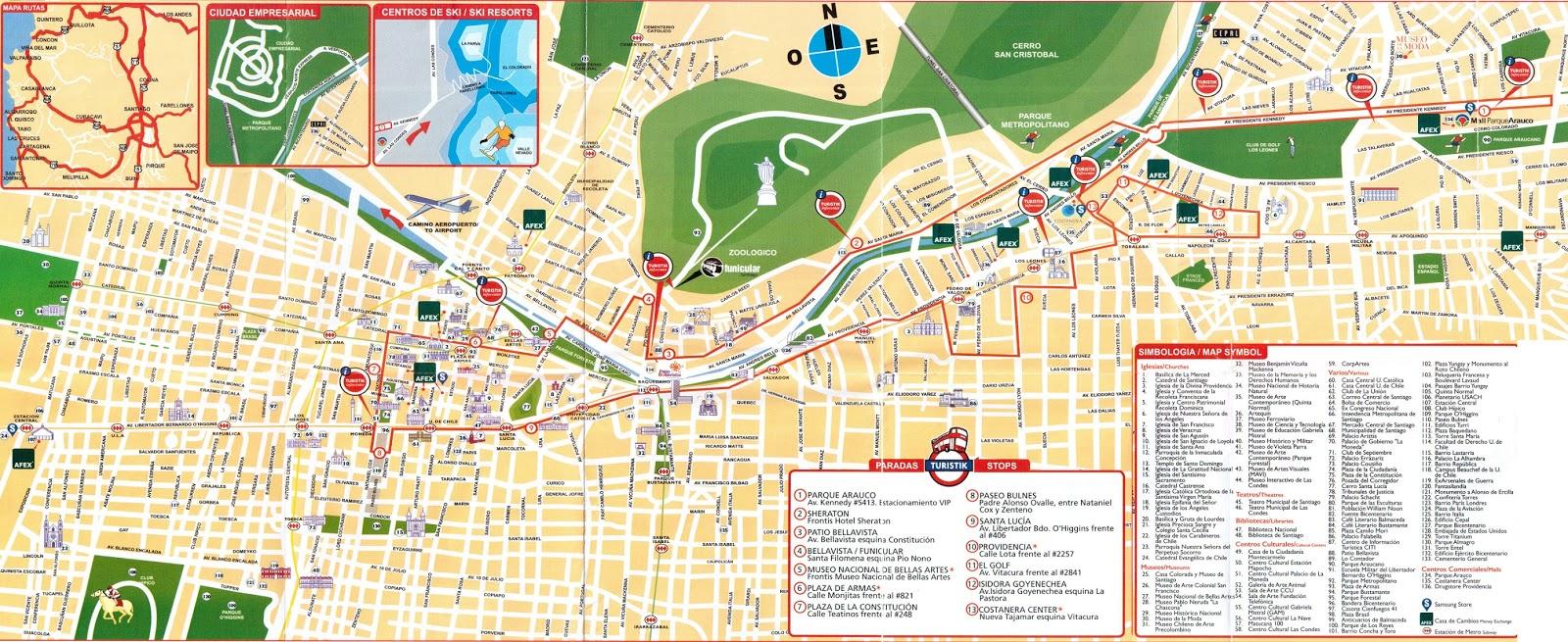 Mapa turistico santiago do chile for Calles de santiago de chile
