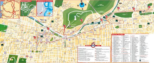 Mapa de ônibus turístico com atrações