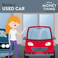 "Cartoon girl next to a cartoon car with the title ""Buying a Used Car"""