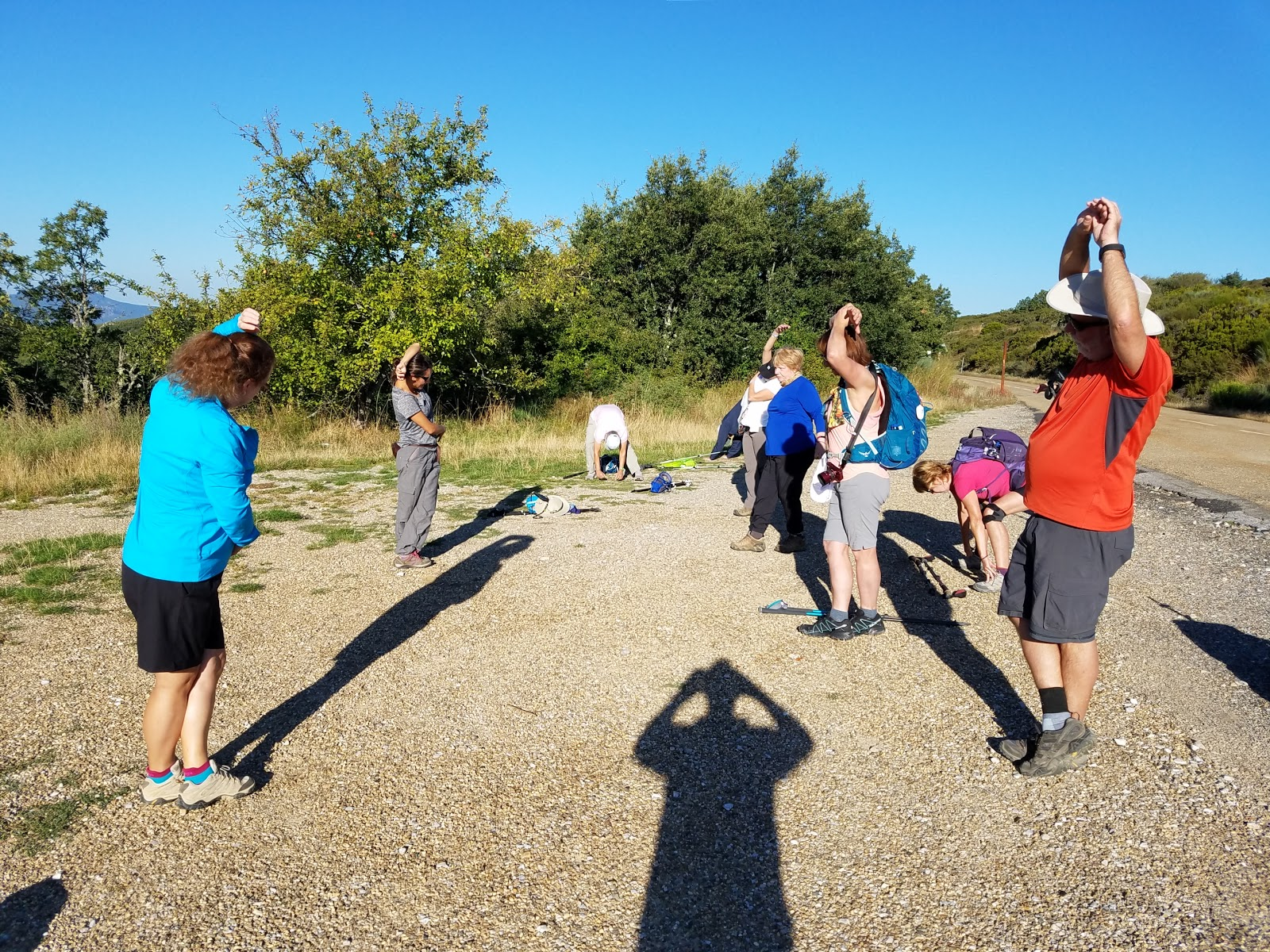 Before each day's hike, we began with morning stretches to tone the muscles. Then we were off!