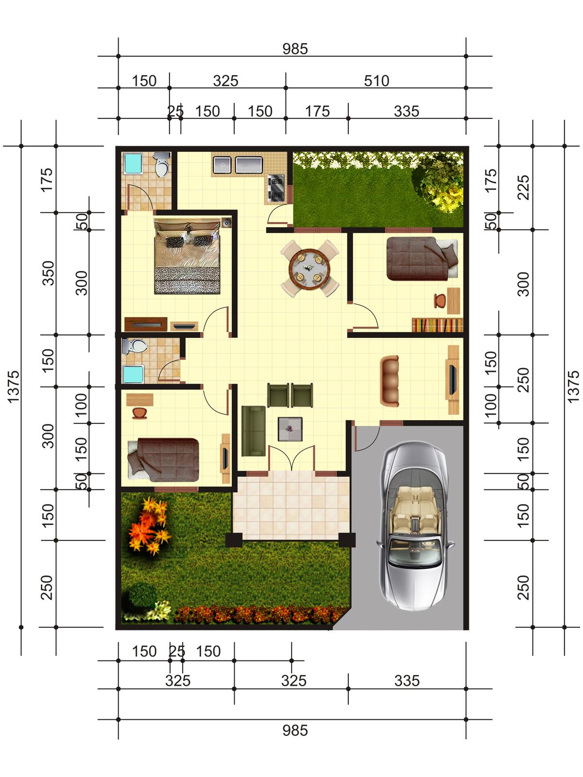 Gambar Desain Rumah Minimalis Type 70 3 Kamar Tidur Terbaru Desain