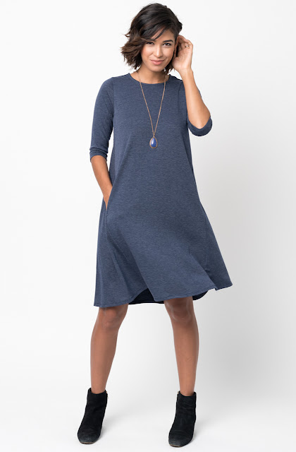 Navy Pocket Terry A Line Dress Swing Long Sleeve Crew Neck