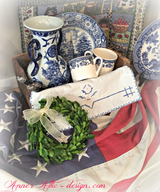 Blue Transferware- Anne'e Attic- Red White & Blue Vignette-Treasure Hunt Thursday- From My Front Porch To Yours