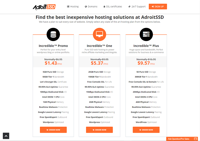 AdroitSSD Plans & Pricing
