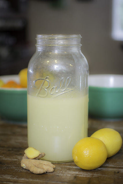 Large Jar of Fresh Lemon Ginger Water