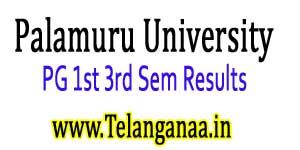 Palamuru University PG 1st 3rd Sem Results 2017