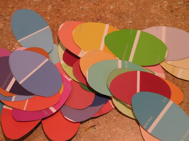 How to make cute easter egg decorations from paint chips