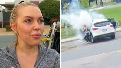 Mãe pensa rápido e consegue salvar os dois filhos, segundos antes de carro explodir