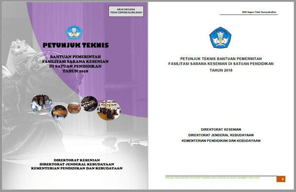 Berikut ini adalah berkas Juknis Bantuan Pemerintah Fasilitasi Sarana Kesenian di Satuan  Juknis Bantuan Pemerintah Fasilitasi Sarana Kesenian Sekolah SD SMP SMA SMK SLB Tahun 2018