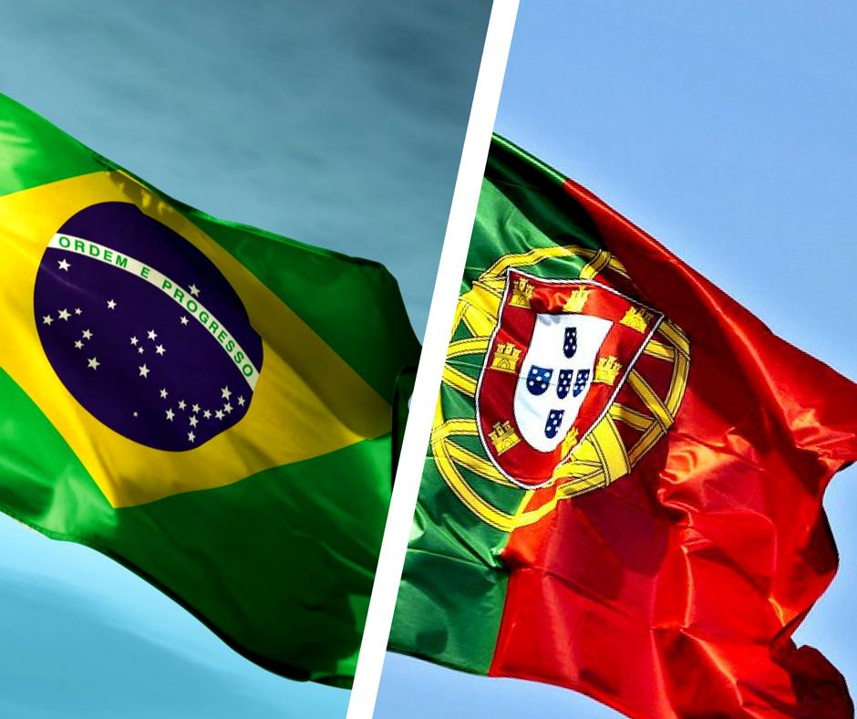 bandeiras do Brasil e Portugal