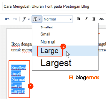 Cara Mengubah Ukuran Font pada Postingan Blog