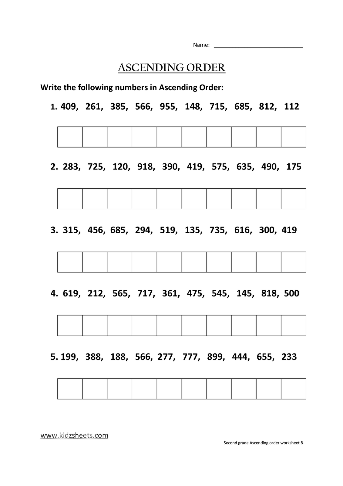 Kidz Worksheets Second Grade Ascending Order Worksheet8