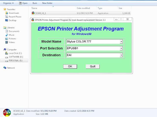 Resetter Epson Stylus Color 777