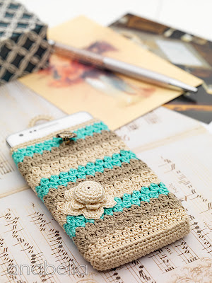 Crochet smart phone case beige and turquoise by Anabelia