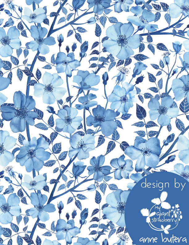 fabric design, Spoonflower, Watercolor Rose Garden in Blue, monochromatic watercolor, botanical watercolor, blue roses, Anne Butera, My Giant Strawberry
