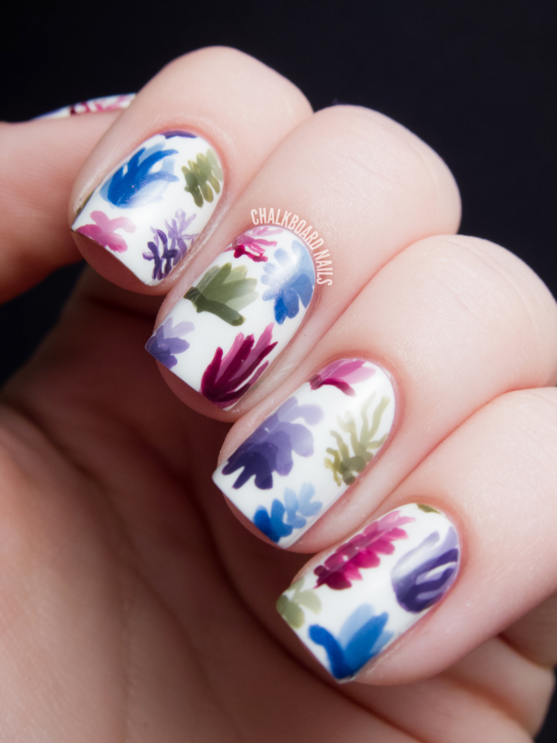 Succulent Plant Pattern Nail Art (Inspired By Lindsay Nohl