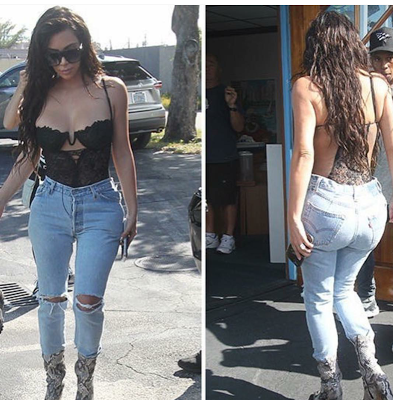 Kim Kardashian steps out in black lingerie and jeans in Miami