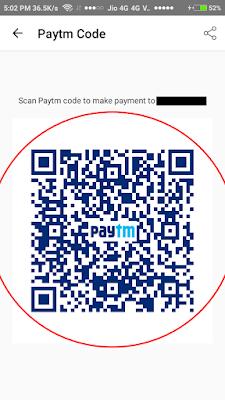 PayTM Unique QR Code Screen - Screenshot