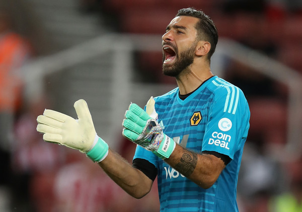 Rui Patricio of Wolverhampton Wanderers shouts instructions during the pre-season friendly match between Stoke City and Wolverhampton Wanderers at the Bet365 Stadium on July 25, 2018 in Stoke on Trent, England.