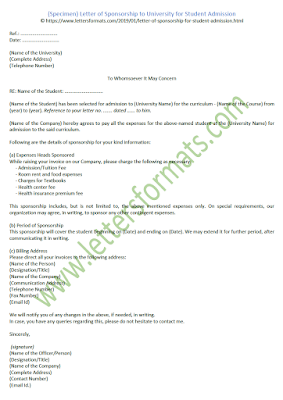 sample letter of sponsorship for student admission