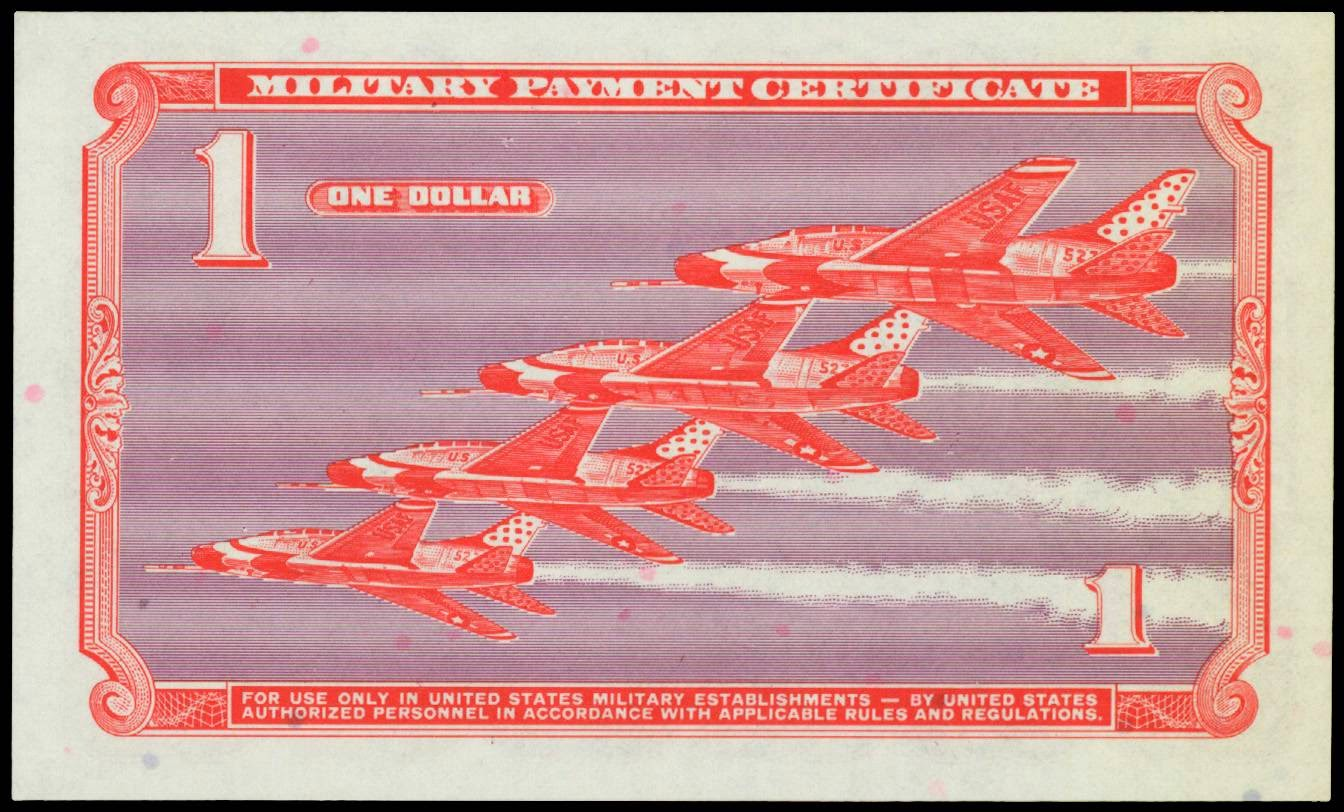 Series 681 Dollar Military Payment Certificate F-100 Super Sabres