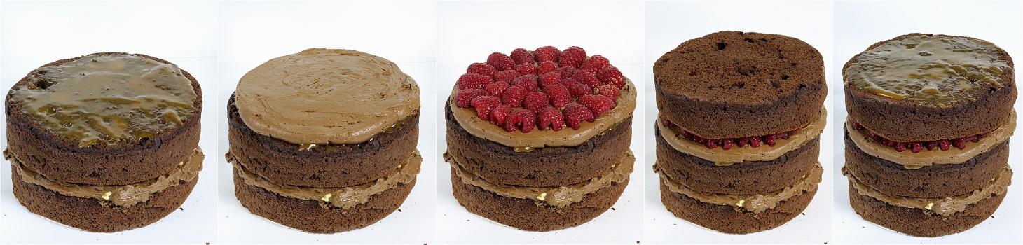 Schokoladen-Karamell-Walnuss-Himbeer-Torte - Drip Cake Anleitung 3