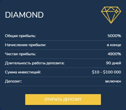 Инвестиционные планы B2B Diamond 6
