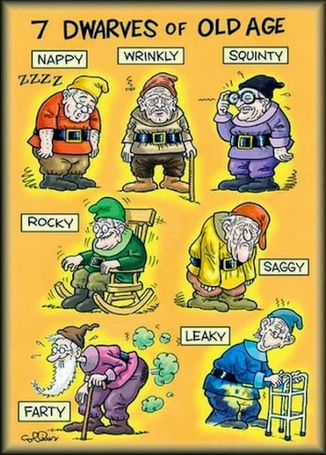 Funny Seven Dwarves Old Age Cartoon Joke Picture - Nappy, Wrinkly, Squinty, Rocky, Saggy, Farty, Leaky