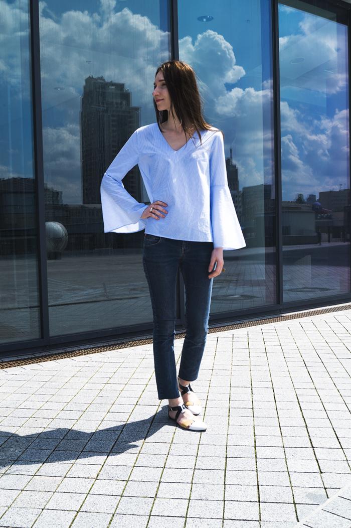 Голубая рубашка Zara для города и на море