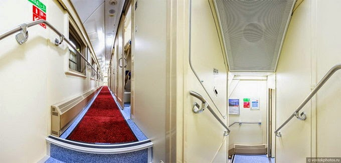 red carpet inside train