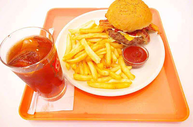 iced tea, fries, bacon and cheese burger