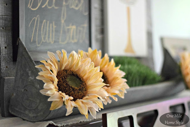 White Sunflowers in a Vintage Chicken Feeder - One Mile Home Style Fall Home Tour