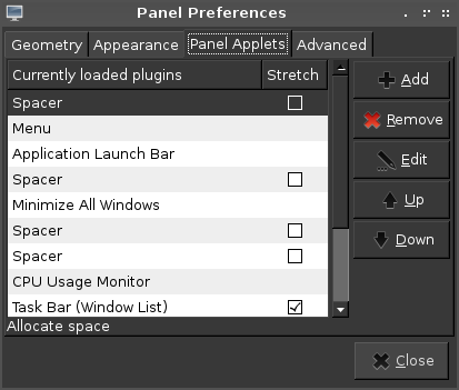 More about LX Panel on Archlinux LXDE
