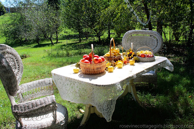 Fall apple orchard table