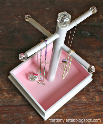 diy personalized jewelry stand from above